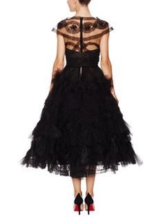 Marchesa Tulle Cap Sleeve Fit (back)