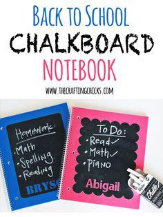 DIY Back to School Chalkboard notebook