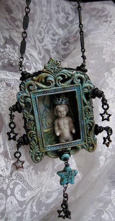 frozen charlotte tin | CHARLOTTE LOVED the STARS little Frozen Charlotte tin box metal framed ...