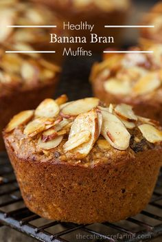 Healthy Banana Bran Muffins - A perfect breakfast or snack, these muffins are super delicious, no-sugar, high fiber and loaded with great ingredients.