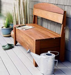 great place to sit in the evening with a cup of tea not to mention the added benefit of storing gardening tools and accessories - definitely gonna do this one