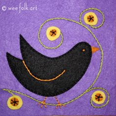Black Bird Applique Block | Wee Folk Art