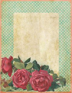 Those Old-fashioned Roses ~ free printable vintage polka dots stationery