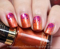 Orange Pink Gradient Nails