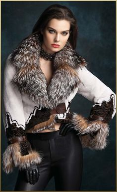 Sheared Mink, Lamb & Fox Fur Jacket with Leather Accents