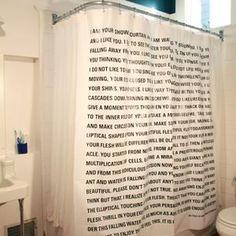 Literary shower curtain