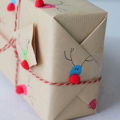 Fingerprint reindeer gift wrap --- love!!!!