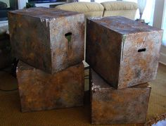 Boxes that look like old metal to fill in dead space in haunted house.  Easy.