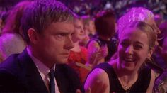 Martin Freeman's reaction to Sherlock losing to Downton Abbey. I love his wife's reaction to his reaction. (GIF)  he's so funny
