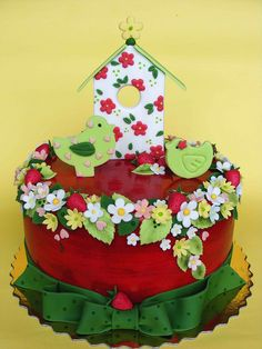 Spring birdie cake by bubolinkata, via Flickr