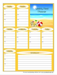 Free Printable Meal Planner: June 2014