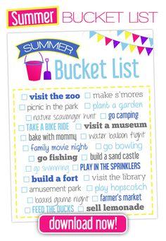 Free Summer Bucket List!!