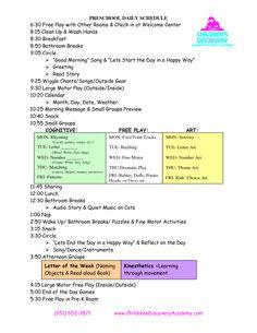 work templat, preschool daily schedule, preschool schedule template