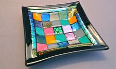 Shimmering Black and MutliColor Mosaic Patchwork by GlossArtGlass, $45.00
