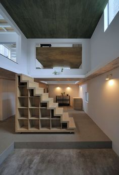 Steps up to the loft - House T by Hiroyuki Shinozaki Architects