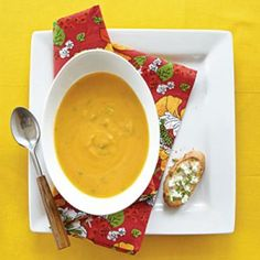 Roasted Butternut Soup with Goat Cheese Toasts | CookingLight.com