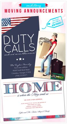 Military Moving Announcements - inspired and designed by @Brittany Horton Horton Johnson Cobb! Love these!!! Wish I would have had them the last couple of moves