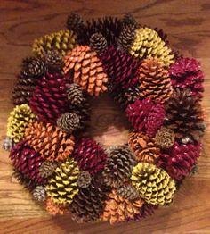 holiday, pine cone wreaths, thanksgiving wreaths, christmas colors, thanksgiv ecocraft, christma idea, pine cones diy, fall wreaths, wreath diy