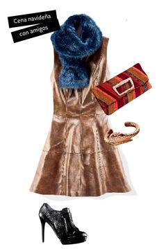 Los vestidos en piel o imitación son un must de la temporada, combínalo con accesorios como una bolsa colorida y una estola en fur de color.