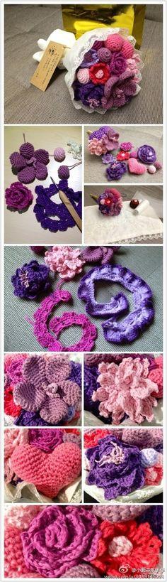 Ramo de flores a crochet..tutorial...艺术  钩花  钩针  生活  手工