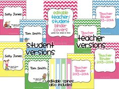 Editable teacher/student binder covers with spines in a cute chevron and polka dot theme.  Text is completely editable so that you can choose your favorite font, font size, and font color and customize these just the way you like! $