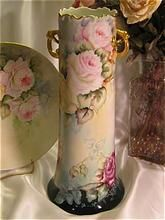 """Gorgeous """"Tea Roses Handled Vase""""' Large 15"""" Tall Antique Hand Painted Limoges France Rose Vase Vintage Victorian China Painting of  PINK ROSES Circa 1900 Handpainted Floral Art Fine French Porcelain Masterpiece"""