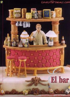 The bartender at the bar making tutorials
