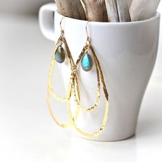 Hammered hoops and labradorite glimmer and gleam. wire wrapped earrings