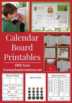 school calendar printables, board printabl, homeschool morning board, homeschool calendar board, free printabl