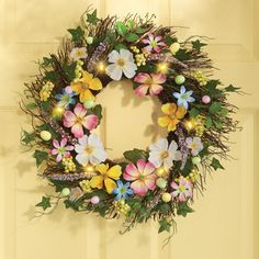 18 in. Springtime Lighted Floral Easter Wreath