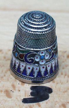 antique thimble russian enamel