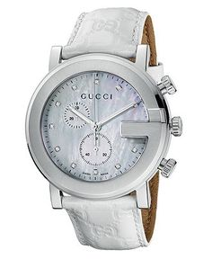Gucci Watch, Women's Swiss G Chrono Collection White Leather Strap 42mm YA101342 - Women's Watches - Jewelry & Watches - Macy's