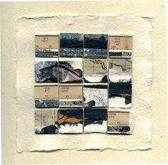"""Water Fragments I"" Assemblage Vintage Survey Map, 1939, Lino Prints, Mono prints, Handmade Papers. 23cm Square Framed SOLD"
