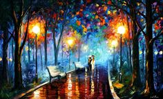 painting: http://milenskiart.com/ oil paintings, art paintings, color, artist, leonid afremov, walk, rain, artwork, street lights