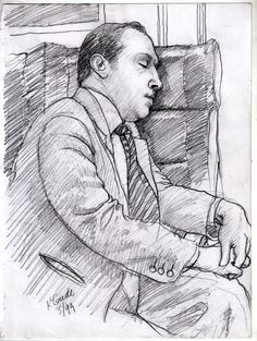 Sleeping man on my Metro North RR commute into NYC —Karl Gude sketchart