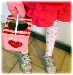 save empty kleenex boxes throughout year for DIY valentine holder