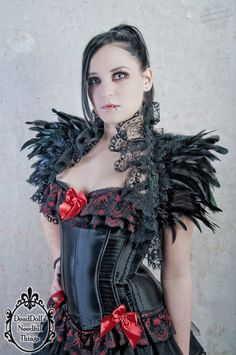 Gothic black feather shrug shoulder wrap with lace burlesque