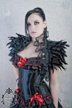 Gothic black feather shrug shoulder wrap with lace burlesque