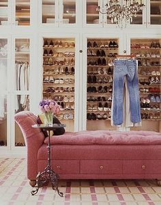 velvet sofa in this huge walk-in closet
