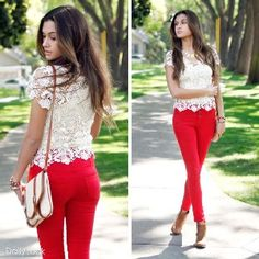 red jeans with white lace top