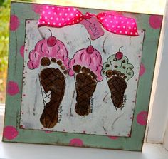 Handprint Pottery Ideas | So many cute ideas for footprints and ... | Crafts with the kids