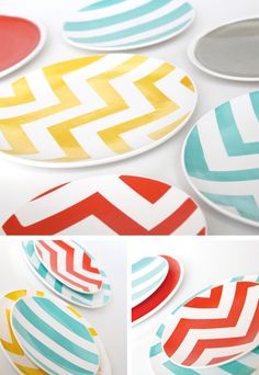 Hand-painted chevron plates from Aedriel Originals:  http://www.etsy.com/shop/aedrieloriginals