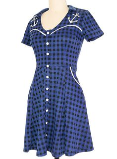 Anchors N' Gingham Knit Dress at PLASTICLAND  good look