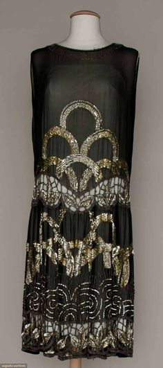 deco pattern silk chiffon dress with cut outs, c1927