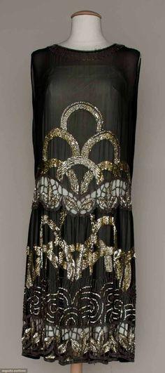 deco pattern silk chiffon dress with cut outs, c1927