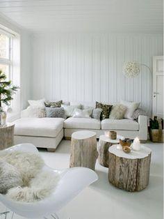 White living room, wood stumps #fur