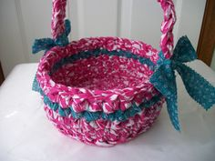 Spring fabric basket crocheted pink white