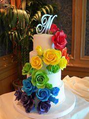 Rainbow roses cake