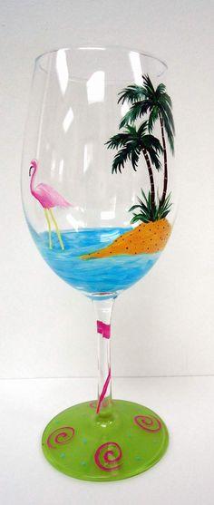 Flamingo Wine Glass - beach wine glass - hand painted wine glass. $20.00, via Etsy. martini glass painting, beaches, beach wine, wineglass crafts, paint wine, paint glasswar, hand painted wine glass, flower painted wine glasses, flamingo crafts