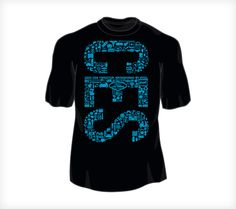 """For the 2012 Consumer Electronics Show, the Pyxl team wanted to find a way to leave our mark on attendees of the official CES tweetup. To do this, we designed these t-shirts to distribute to tweetup guests. Incorporating a variety of tech icons to spell out the letters of """"CES"""", we were able to convey the energy of the industry while providing a shirt attendees wanted to wear."""